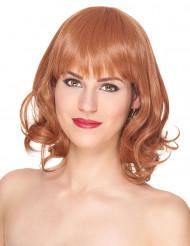Naisten Premium-peruukki puolipitkillä punaisilla hiuksilla ja otsatukalla