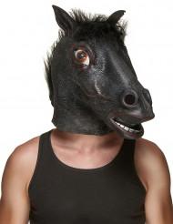 Aikuisten lateksinen naamari Musta hevosen pää