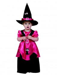 Vaaleanpunainen noita-akan asu taaperolle halloweeniin