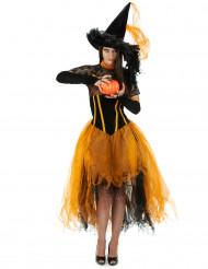 Naisten pitsinen oranssi Halloween noita naamiaispuku