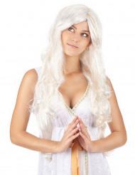 Naisten pitkä enkeliperuukki kullanvärisillä säikeillä