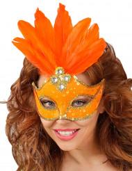 Naisten oranssi silmikko höyhenillä
