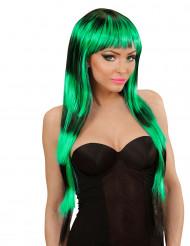 Pitkä vihreä peruukki mustilla raidoilla aikuisille
