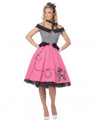 Vaaleanpuna-musta 50-luvun naamiaisasu naiselle