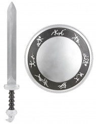 Lasten muovinen asustesetti Gladiaattorin miekka ja kilpi