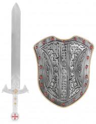 Lasten muovinen setti Ratsastavan soturin suojakilpi ja miekka