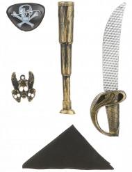 Muovinen merirosvon setti lapsille - sis. sapelin, kaukoputken, bandana-huivin, riipuksen ja silmälapun