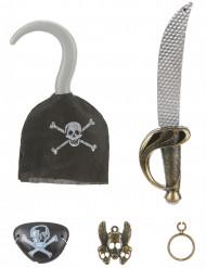Lapsille muovinen merirosvo setti: koukku, miekka, silmälappu, korvakoru ja riipus