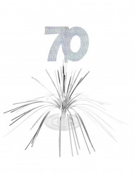 Hopeanharmaa pöytäkoriste 70-vuotisjuhliin