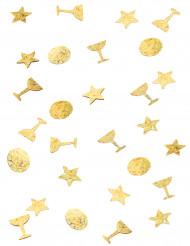 Kullanväriset konfetit 3 pss - sis. tähden, ympyrän ja samppanjalasin muotoisia konfetteja