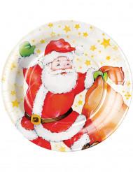 Joulupukilla kuvitetut pahvilautaset 8 kpl