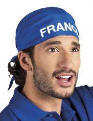 Aikuisten sininen bandana-huivi France-tekstillä