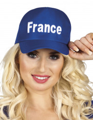 Aikuisten sininen lippalakki France-tekstillä
