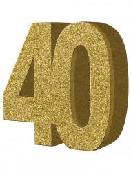 Kullanhohtoinen pöytäkoriste 40-vuotisjuhliin