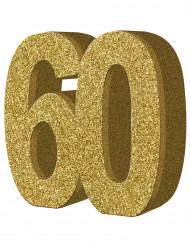 Kullanvärinen pöytäkoriste 60-vuotispäiville - 20 x 20 cm