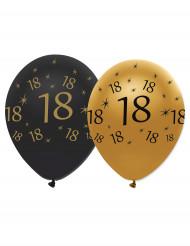 Mustankultaiset ilmapallot 18-vuotissynttäreille -6 kpl