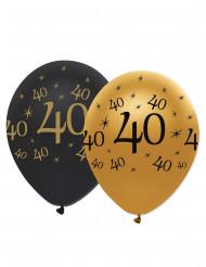 Mustankultaiset ilmapallot 40-vuotispäiville - 6 kpl
