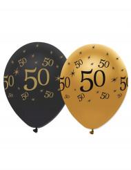 Mustia ja kultaisia 50v-ilmapalloja, 6 kpl