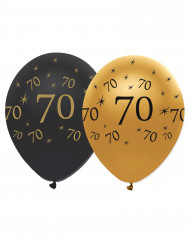 Kultaiset ja mustat ilmapallot 70 v, 6 kpl