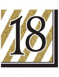 Musta-kultaisia servettejä 18-vuotisjuhliin