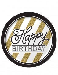 Mustankultaiset kartonkilautaset Happy Birthday-tekstillä 23 cm - 8 kpl