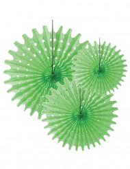 3 Vihreää paperikoristetta 20, 30 ja 40 cm
