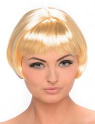 Kulmikas lyhyt vaalea peruukki naisille