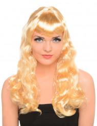 Vaalea peruukki, pitkä, kihara