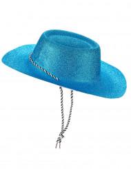 Hohtavan sininen cowboyn hattu