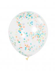 Läpikuultavat ilmapallot värikkäillä konfeteilla 30 cm - 6 kpl