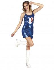 Naisten sininen mekko Ranskan lipun värein koristetulla sydämellä