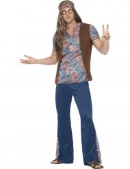 Sininen hippi peace-naamiaisasu miehelle