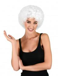 Valkoinen afroperuukki/ klovnin peruukki aikuisille