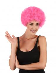 Vaaleanpunainen afrotukka/ klovniperuukki aikuisille