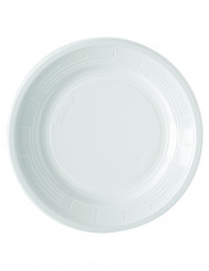 Valkoiset muovilautaset 22 cm - 50 kpl