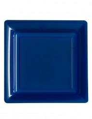 Siniset nelikulmaiset muovilautaset 12 kpl