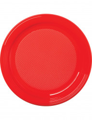 Punaiset muovilautaset 22 cm - 30 kpl