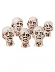 6 pientä zombien päätä - Halloween koristeet