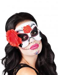 Naisten Dia de los Muertos-naamari punaisella ruusukkeella