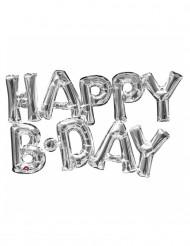 Alumiinifoliopallo hopeanvärisellä Happy Birthday -kirjainyhdistelmällä - 78 cm