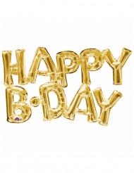Alumiinifoliopallo kullanvärisellä Happy Birthday -kirjainyhdistelmällä