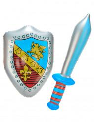 Puhallettava miekka ja suojakilpi