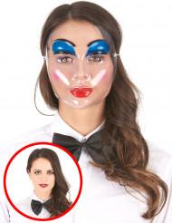 Naisten läpinäkyvä naamari meikatuilla kasvoilla