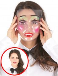 Naisten läpinäkyvä naamari vihreällä meikillä