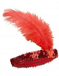 Naisten punainen Charleston hiuspanta paljeteilla ja sulalla