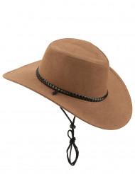 Ruskea mokkanahkainen cowboy-hattu aikuisille