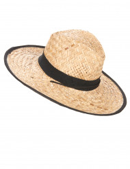 Aikuisten cowboy-hattu mustilla koristereunoilla ja koristenauhalla