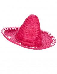 Aikuisten punainen sombrero-hattu tupsureunuksella