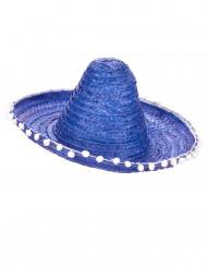 Aikuisten sininen sombrero-hattu valkoisella tupsureunuksella