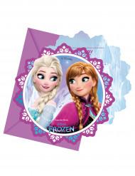 Lumihiutaleen malliset kutsukortit kirjekuorilla Frozen™ - 6 kpl